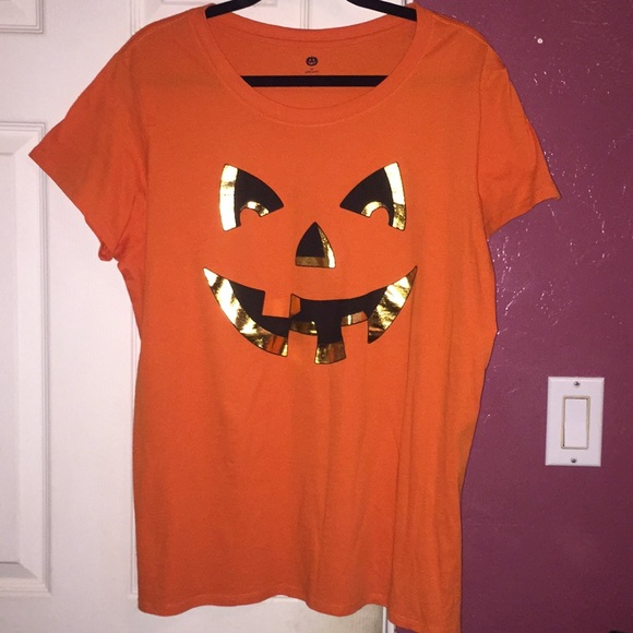 b5bf03ba Walmart Tops | Halloween Orange Pumpkin Shirt | Poshmark
